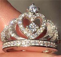 Victoria Wieck اليدوية المجوهرات 925 فضة تمهيد صغيرة بيضاء الياقوت تشيكوسلوفاكيا الماس أحجار الكريمة حزب النساء الزفاف تاج الفرقة 71 L2