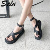 Salu frauen sandalen sommer open toe casual schuhe frau 2019 neue leder weicher gladiator sandalen mode weibliche schuhe f1by #