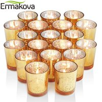 ERMAKOVA 6 12 Pcs Votive Mercury Glass Tealight Candle Holder for Wedding Parties Hotel Cafe Bar Home Decoration 210310