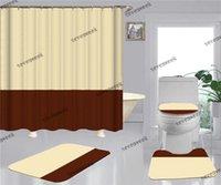 Casa casa de banho chuveiro cortinas 4 pcs conjuntos de moda esteira impressa tampa de assento banho não desinfetado esteira tapete deformação