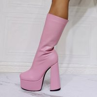 Plain Sexy Gothic Booties Black Pink Strech Leather Mid-calf Boots Female Autumn Zipper 15cm Block Chunky High Heels Platform Shoes Woman Bo