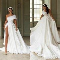 Robes de mariée à haute cérémonie Big Bow Appliqué 2021 Nouveauté A Line Beach Robe de mariée à une épaule à une épaule Custom Custom Ruched Satin Robes de Mariée
