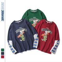 Мужские футболки мужские футболки свободные уютные толстовки мужчины ложные два смешных полосатых печатных топовых топов Tees Пара Harajuku хип-хоп повседневная капюшон пуловер