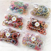 Hair Accessories 100Pcs Set Girls Bands Candy Color Elastic Rubber Ponytail Holder Band Kids Child Bagged Gift
