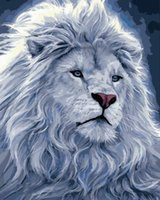 Paintings White Lion Looking Up Animal DIY Painting By Numbers Wall Art Picture Acrylic For Home Decoration Drop 60x75cm