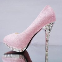Dress Shoes Crystal Women's Wedding Woman Bridal Evening Party Red High Heels Sexy Women Pumps Glitter White A4-36