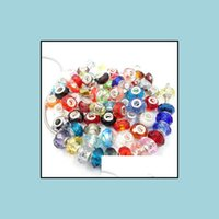 JoyeríaDiy Big Hole Beautif Encanto Europeo Murano Espaciador Redondo Espaciador Facetado Cristal de cristal Beads Flojo 200pcs / lot Mix Drop Drop Drop Drop Drop. 2021 FCP