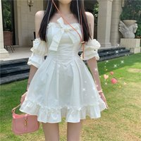 White Prom bridesmaid Dress Fairy Strap Women Patchwork Off Shoulder Sexy Party Mini Dresses Bow Ruffle Sweet Cute Princess Sundress 2021