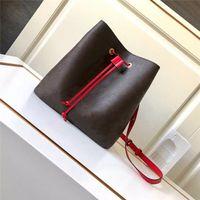 Neo MM NOE Kova Çanta M44022 Kahverengi Gül Pembe Dana-Deri İpli Ayarlanabilir Akıllı Kayış Luxurys Tasarımcılar Omuz Çantaları