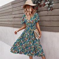 2021 Spring New Short Sleeve Floral Dress Women Casual High Waist Sexy V Neck Print Dress For Woman Summer Knee Length Dress