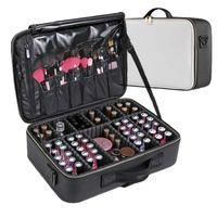 Lhlysgs Clapboard Kosmetiktasche Koffer Mehrstöckige große professionelle Make-up-Tasche Frauen Schönheit Organizer Kosmetiktasche 210305