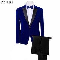 Pyjtrl Brand Mens Classic 3 Piece Набор бархатных костюмов Стильный бордовый королевский синий черный свадебный жених Slim Fit Tuxedo Prom Costume X0909
