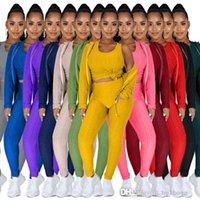 Плюс Размер S-4XL Одежда Женщины Scestsuits Спортивный костюм Всем и зимний Свитер с капюшоном Свитер с капюшоном Йога Спорт Спорт Трех частей Набор + Жилет