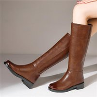 Boots Slip On Knee High Boot Woman Leather Autumn Winter Shoes For Women Warm Fur Long Tall Lady Footwear Brand Designer ZOGEER