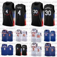 Uomini donne e giovani nuoviYork.Knicks.4 Derrick.Rose 30 Julius.Randle 9 Barrett 2020-21 Black White and Blue City Jersey