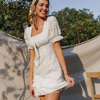 Simplee Tatil Beyaz Çiçek Nakış A-line Elbise Kadınlar Kare Boyun Puf Kollu Mini Elbise Fırfır Yüksek Bel Elbiseler Yaz 210309