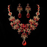Earrings & Necklace Classic Women's Wedding Bridal Jewelry Set Red Crystal Rhinestone Gifts Drop 2021