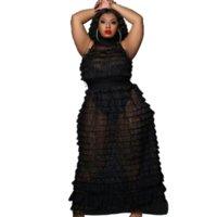 Черная явная сетка плюс размер двух частей набор женщин платье Bodycon One Bodysuit и без рукавов видят через плиссированные костюмы вечеринки