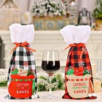 Christmas Buffalo Plaid Wine Bottle Covers with Faux Fur Cuff Xmas Gift Bags Home Dinner Party Table Decor OWD10301