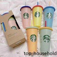 Starbucks 24oz 710ml Plastic Mugs Tumbler Mermaid Goddess Color Change Reusable Clear Drinking Flat Bottom Pillar Shape Lid Straw Cups mug