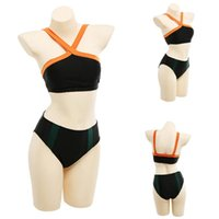 One-Piece Suits Bikini 2021 Woman Halter Neck High Waist Bottoms Womens Swimsuit Shorts Costume 2 Piece Set Split Swimwear NU
