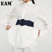 Belts [EAM] Multicolor Blue Black Big Buckle Elastic Wide Belt Personality Women Fashion All-match Spring Autumn 2021 1D17401