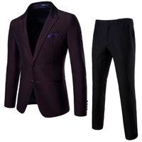 Erkek Takım Elbise Blazers Ligentleman 2 Parça Setleri Giymek Takım Elbise Pantolon Slim Marka Erkek Düğün Parti Ceket Akıllı Business Bordo