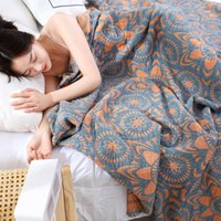 Blankets The Four Layer Washable Cotton Towel Is Covered By Yarn Blanket, And Air Conditioner Cooled Summer Blanket