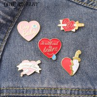 Pins, Brooches Heart Enamel Pin Punk Knife Tear Rose Love Broken Metal Broches Badges For Backpack Bag Hat Women Jewelry Accessories