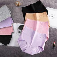 2021 New Brand Cotton women's panties elastic soft large size XXXL Embossed ROSE Ladies underwear Breathable sexy High waist briefs