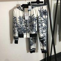 705 2021 Primavera Estate Brand Same Style Due pezzi Set Set Pantaloni lunghi Crew Neck Manica lunga Empire Blue Plaid Fashion Womens Abbigliamento Abbigliamento Fangle