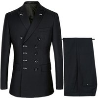 Men's Suits & Blazers Men Slim Fit Fashion Business Casual Double Breasted Jacket Coat Trousers Wedding Groom Party Skinny 2 Pcs Pants
