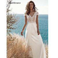 Other Wedding Dresses Plus Size 2021 Beach V Neck Lace Backless Satin Sweep Train Bridal Gowns Boho Robe De Mariee