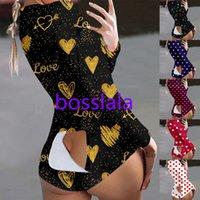 Kadın Tulumlar Tasarımcı Sevgililer Günü Baskı Pijama Uzun Kollu Bodysuit Gecelikler Egzersiz Düğmesi Geri Flap Şort Rompers