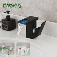 Bathroom Sink Faucets YANKSMART LED Faucet Waterfall Single Handle Basin Water Mixer Tap RGB Color Change Powered By Flow