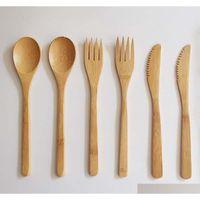 Novo Conjunto de Cutelaria De Bambu Natural Bambu Colher Forquilha Faca De Dinnerware Conjunto Adulto Estilo Japonês Jllfva Sport77777