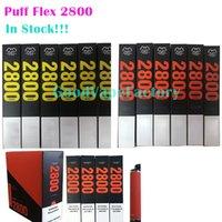 Puff Flex 2800 Puffs Tek Kullanımlık Barlar Vape Kalem 1500 mAh Pil 10 ml Pods Kartuş Önce Dolgulu Ecigarette Buharlaştırıcı Taşınabilir Buhar DHL Ücretsiz