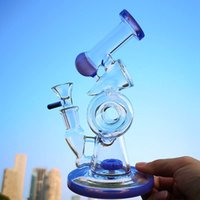 Double Recycler Glass Bongs Sidecar Bong Hookahs Slitted Donut Perc Water Pipes 14mm Female Joint With Bowl 4mm Thick