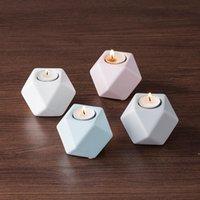 4 colori ceramica candela stampi multilaterali ceramiche geometriche candeliere home artigianato decorazioni decorazioni candele stampi DWA4049