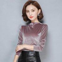 Women's Blouses & Shirts Plus Size M-7XL Elegant Velvet Half Turtleneck Solid Color Womens Tops Long Sleeve Slim Female Blouse Clothing Blac