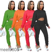 Spring and Autumn women Two-Piece set solid color Women's long SleeveTop And pants With Bandage Casual Sports Suit 2021 Tracksuits meet0808