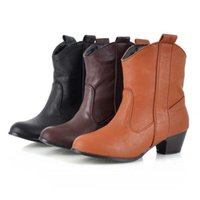 Boots Retro Women Autumn Winter Zipper Square Heels Short Booties Round Toe Shoes Vintage Solid Color Leather Sapatos Femininos
