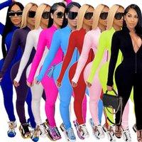 Women Designer Solid Color Jumpsuit Sexy Deep V-neck Zipper Home Suit Sports Suit Slim Long Sleeve 2021 New Onesies Rompers Pajama DHL
