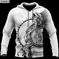 Erkek Hoodies Tişörtü Viking Meksika Aztek Savaşçı Dövme 3D Baskılı Hoodie Adam F20 Kadın Unisex Dış Giyim Fermuar Kazak Sweatshi