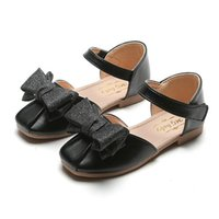 Sneakers Shoes For Kids Leisure Baby Girls With Bow Rome Princess Sandals Breathable Leather Children Black Gold Silver Size 26~35