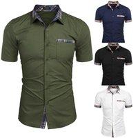 Men's Casual Shirts Summer Short Sleeve Mens High Quality Business Shirt 2021 Men Slim Fashion Plaid Lapel