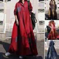 Zanzea 2021 Vintage bottone camicia abito da donna Autumn sundress manica lunga maxi vestido femmina casual bagyy robe femme plus size
