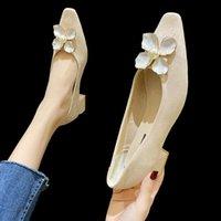 Dress Shoes Elegant Sweet Flowers Pearl High Heels 2021 Suede Square Mid Heel Single Fashion Party Ladies Pumps Women