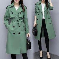 Women's Trench Coats Jacket High Quality Mid-Length Windbreaker Woman Coat Spring Autumn Overknee Women