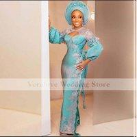 Luxury African Long Sleeves Mermaid Evening Dresses 2021 Aso Ebi Long Sleeves Pleats Blue Prom Gowns Robe De Soiree